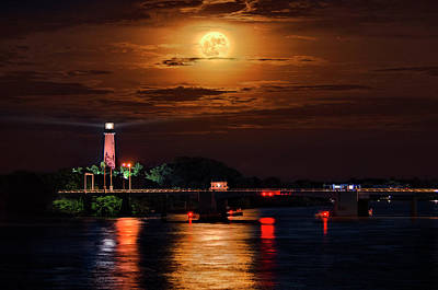 Photograph - Full Moon Over Jupiter Inlet And Lighthouse Museum At Night by Justin Kelefas
