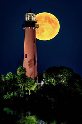 Photograph - Full Moon Over Jupiter Lighthouse  by Justin Kelefas