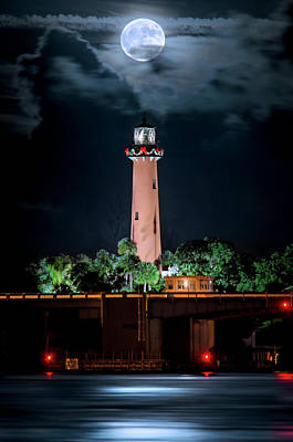 Photograph - Full Moon Over Jupiter Lighthouse On Christmas Night 2015 by Justin Kelefas