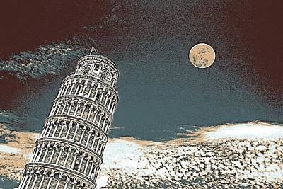Park Scene Painting - Full Moon Over Leaning Tower Of Pisa 2 by Celestial Images