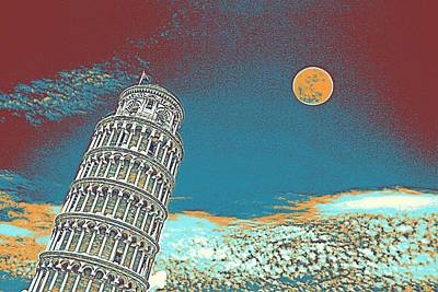 Park Scene Painting - Full Moon Over Leaning Tower Of Pisa by Celestial Images