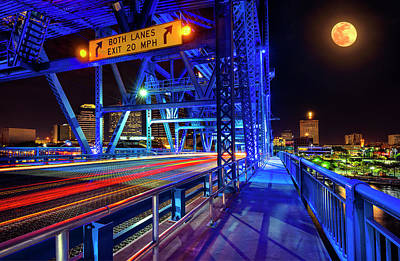 Photograph - Full Moon Over Main Street Bridge And Downtown Jacksonville Florida by Justin Kelefas