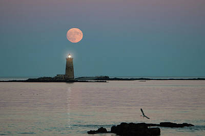 Photograph - Full Moon Over Maine Lighthouse by Jeff Folger