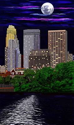 Painting - Full Moon Over Minneapolis 2 by Jeanne Fischer