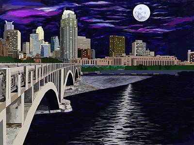 Painting - Full Moon Over Minneapolis by Jeanne Fischer