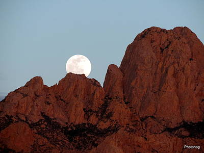Full Moon Over Mountain  Art Print by Adam Jones