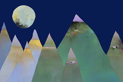 Night Sky Mixed Media - Full Moon Over Mountain Range by Jacquie Gouveia