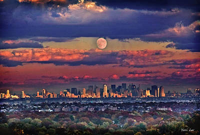 Mixed Media Royalty Free Images - Full Moon over New York City in October Royalty-Free Image by Yuri Lev