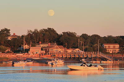 Photograph - Full Moon Over Pamet Harbor Cape Cod by John Burk