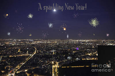 Photograph - Full Moon Over Paris With Firework by Patricia Hofmeester
