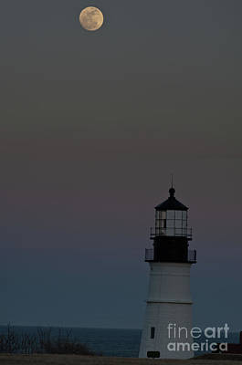 Full Moon Over Portland Headlight. Art Print by David Bishop