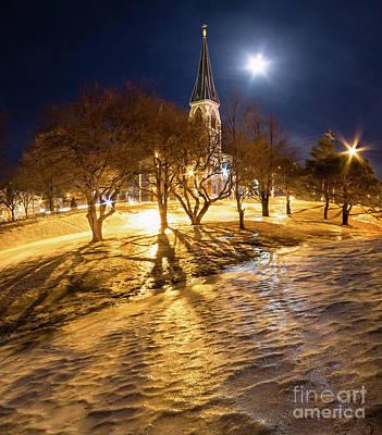 Photograph - Full Moon Over Portland, Maine  -41221 by John Bald
