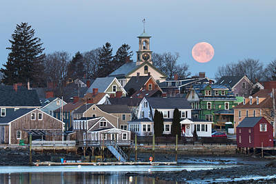 Prescott Park Photograph - Full Moon Over Portsmouth by Eric Gendron