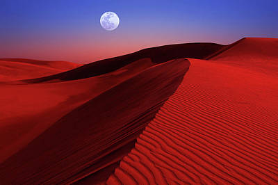 Photograph - Full Moon Over Red Desert Dunes by Justin Kelefas
