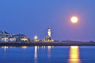 Full Moon Over Scituate Light Art Print
