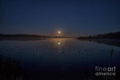 Photograph - Full Moon Over Shipshewana Lake by David Arment