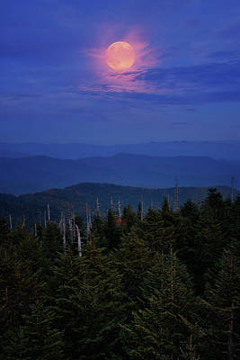 Photograph - Full Moon Over Smoky Mountains National Park by Justin Kelefas