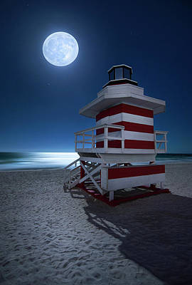 Photograph - Full Moon Over South Miami Beach by Justin Kelefas