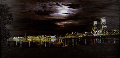 Painting - Full Moon Over The Bay by Elisabeth Dubois