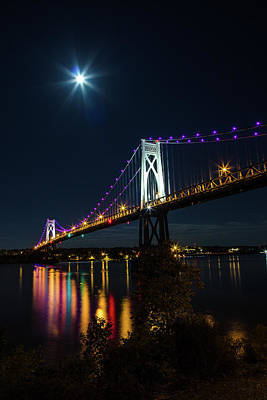 Photograph - Full Moon Over The Mid - Hudson Bridge by John Morzen