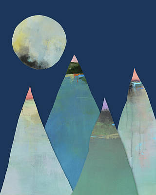 Mountain Art Mixed Media - Full Moon Over The Mountains by Jacquie Gouveia