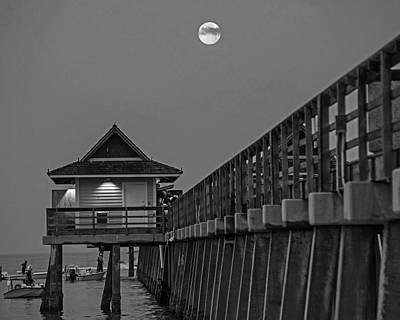 Photograph - Full Moon Over The Naples Pier At Sunrise Naples Florida Blue Moon Black And White by Toby McGuire
