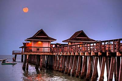 Photograph - Full Moon Over The Naples Pier At Sunrise Naples Florida Blue Moon by Toby McGuire