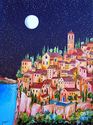 Painting - Full Moon Over The Village By The Lake by Roberto Gagliardi