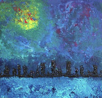 Full Moon Over Watercity Art Print by Erik Tanghe