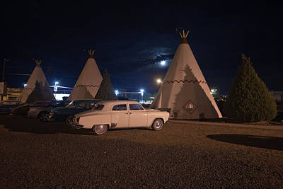 Photograph - Full Moon Over Wigwam Motel by Robert J Caputo