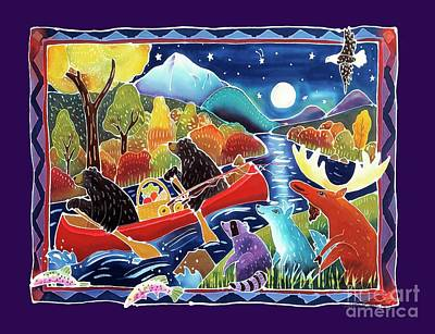 River Rafting Painting - Full Moon Paddle by Harriet Peck Taylor