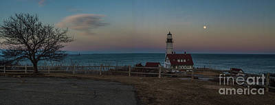 Full Moon Panorama Over Portland Headlight Art Print by David Bishop