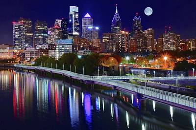 Photograph - Full Moon Philly Night by Frozen in Time Fine Art Photography