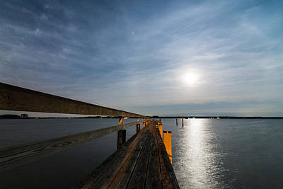 Chesapeake Bay Photograph - Full Moon Pier by Kristopher Schoenleber