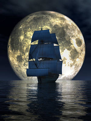 Pirate Ship Digital Art - Full Moon Pirates by Daniel Eskridge