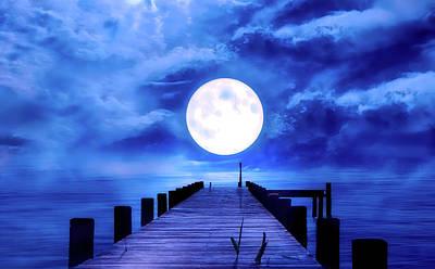 Surreal Digital Art Mixed Media - Full Moon by Pixabay