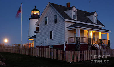 Photograph - Full Moon Rise At Pemaquid Light, Bristol, Maine -150858 by John Bald