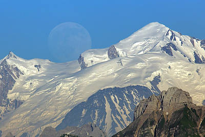 Moon Photograph - Full Moon Rise Behind Mt Blanc by Patrick Jacquet