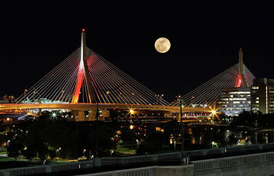 Photograph - Full Moon Rising Across Boston Zakim Bridge by Juergen Roth