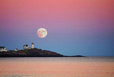 Full Moon Rising At Nubble Light Art Print