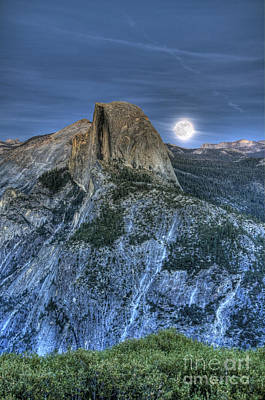 Photograph - Full Moon Rising Behind Half Dome by Jim And Emily Bush