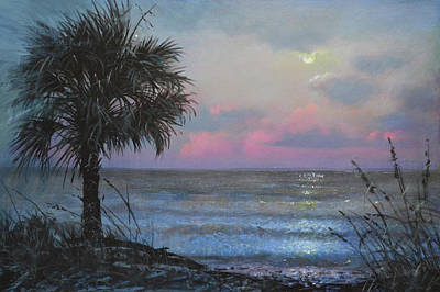Painting - Full Moon Rising by Blue Sky