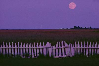 Full Moon Rising Over A Picket Fence Print by Robert Madden