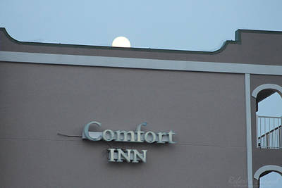Photograph - Full Moon Rising Over Comfort Inn by Robert Banach