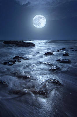 Print featuring the photograph Full Moon Rising Over Coral Cove Beach In Jupiter, Florida by Justin Kelefas