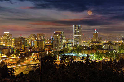 Wall Art - Photograph - Full Moon Rising Over Downtown Portland by David Gn