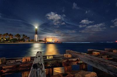 Photograph - Full Moon Rising Over Hillsboro Lighthouse by Justin Kelefas