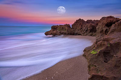 Photograph - Full Moon Rising Over Hutchinson Island Florida Near The House Of Refuge Museum by Justin Kelefas