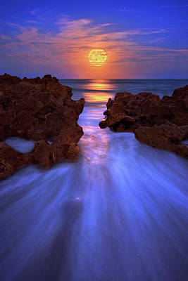 Photograph - Full Moon Rising Over Jupiter Florida Beach by Justin Kelefas