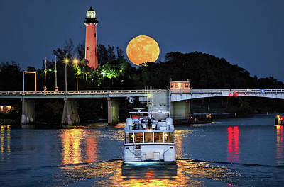Photograph - Full Moon Rising Over Jupiter Lighthouse With Yacht In Moonlight by Justin Kelefas